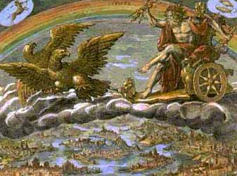 15a - Roman god Jupiter - Enlil, a Roman depiction of Jupiter scanning the skies in his sky-chariot