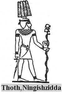 2 - Ningishzidda, younger son to Enki, son to Ereshkigal, Ningishzidda is the Egyptian god Thoth, the god of knowledge, Ningishzidda was well known throughout the entire world, & well worshipped in many cultures, he had many names in the many civilizations, the serpent god from Mesopotamia to the Mayan lands of the Yucatan