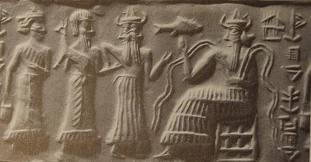 2b - Ninsun & her unidentified mixed-breed son made king, & gods Isumud & Enki, a king being presented to Enki for his approval, the giant mixed-breed offspring of the gods were appointed to positions of authority over earthlings, the 1st kings, queens, hisgh-priests, high-priestesses, etc., as the perfect go-betweens for gods & earthlings