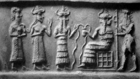 2c - unidentified giant mixed-breed made king, his mother goddess Ninsun, Isumud, & Enki, Isumud escorts Ninsun & her son to see Enki in Eridu, Enki's city on the southern end of the Euphrates, close to the Persian Gulf