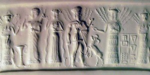 2d - Inanna, an unidentified mixed-breed king, Ninlil, with her parents Haia & Nisaba, the gods of grains, a time long, long ago, when the alien gods inhabited the Earth, had sex with the daughters of men, produced giant mixed-breed offspring who were bigger, stronger, faster, smarter, & lived much longer that earthlings, the 1st kings on Earth, a perfect go-between for the gods & earthlings