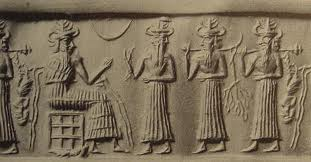 "2e - Enki, Isumud, & 2 unidentified sons to Enki with mixed-species experiments of Enki's in the Abzu, ancient artefact commemorating Enki's efforts to produce replacement workers for the gods long, long ago, prior to ""modern man"", these artefacts are shamefully being destroyed by Radical Islam, who does not permit knowledge from our ancient past, artefacts are full of direct contradictory knowledge to Islam"