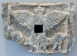 "3a - Anzu artefact in the Louvre, Anzu stole Enlil's ""Tablets of Destinies"", attempting a coup against Enlil's rule, Enlil's eldest son Ninurta got them back for his father, battling Anzu in the skies"