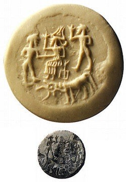 3a - Enki on a Dilmun seal, thousands of years old, pristine lands given to Ninsikila by Enki
