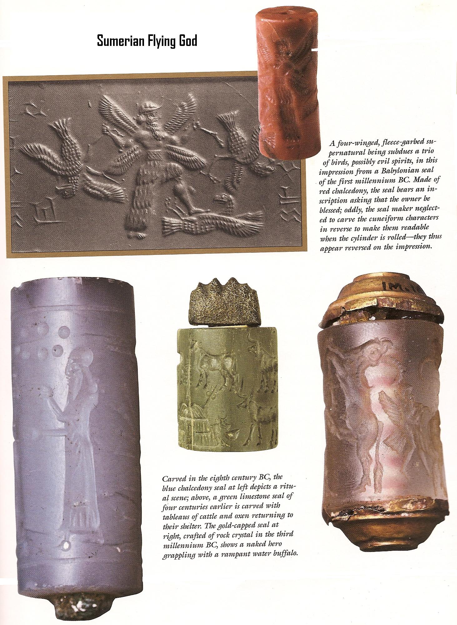 3a - Enlil bottom left, his son & heir Ninurta on top, rolled & pressed upon wet clay, a form of mass printing was created to be used as a newspaper & copy machine, daily news for the ancient cities of Sumer