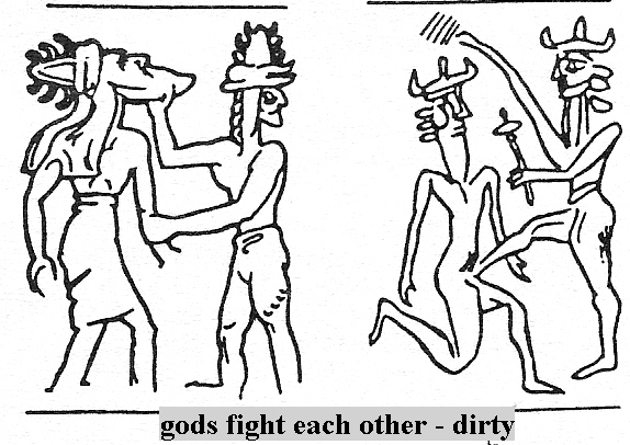 3b - princes Alalu & Anu wrestle for the crown of Nibiru while on Earth, the victor was to win all authority over the Anunnaki as king of the new one world order on Nibiru, Alalu bit off Anu's testicles, robbing him of his manhood, Alalu was executed by Ninurta for his crime, Anu became the undisputed new king of planet Nibiru, & he claimed a new colony for Nibiru, one full of riches, & so they stayed upon the Earth