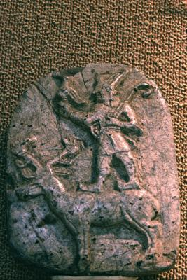 3d - stele artefact of Martu standing upon a reindeer, he was given the Martu Lands, a place where the earthlings were said to be primitive & ape-like, artefacts were destroyed by Radical Islam, foolishly thinking they can hide & destroy knowledge of the alien gods, evidence that directly contradicts the power-brokers of Islam, fearing their loss of credibility
