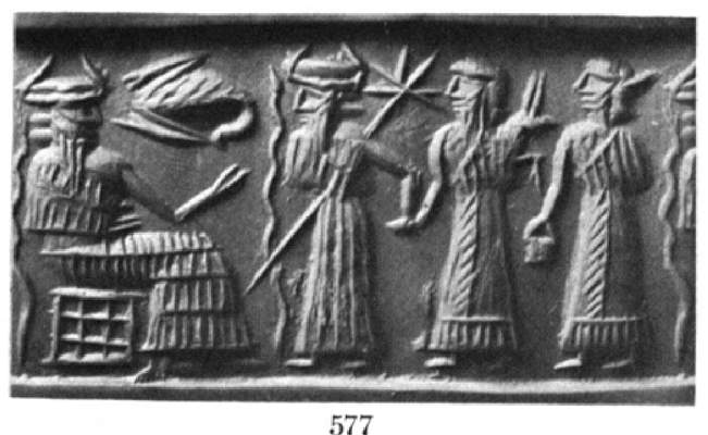 4a - Enki. Ningishzidda, & unidentified mixed-breed king with spouse, the giant offspring of the gods were taller, stronger, faster, smarter, & lived longer than earthlings, they were appointed to new positions of authority over the earthlings, kingship, high-priests, high-priestesses, etc. were positioned to be their go-between for the gods & earthlings, putting across the gods wishes upon mankind, those who disobeyed were punished severely, usually with their lives