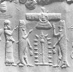 4c - Ninhursag, Enki, & his pilot Abgal greeted by Alalu, as Enki & his men swam to shore, so did Ninhursag, sister to Enki, & the Chief Medical Officer, she assessed their needs for sheep, seeds, medical supplies, nurses, etc., to be transported down to Earth, Alalu persisted with claiming the kingship, Anu kept in complete communication with events below, & directed things from above, symbolized by him in a flying planet (Nibiru) above, Tree of Life or a port-hole below him