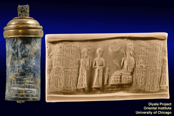 "4cc - Ninsun brings her giant mixed-breed son-king Gudea before a bigger giant, alien god Ningishzidda, the son to Enki who is the wisest god of them all, a time in our forgotten past, when the sons of god(s) had sex with the daughters of men, or the goddesses had sex with earthling men, they produced offspring who became the Biblical ""Heroes of old, men of renown"" the ""mighty men"", the ""giants"", the 1st long living kings on Earth"