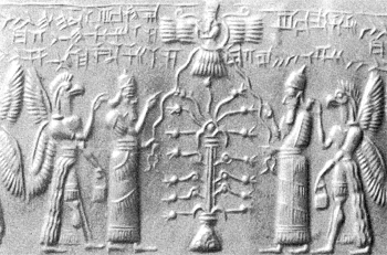 5 - Anu above in communications with his eldest sons of authority Enki, & Enlil, Enlil's Tree of Life, Anu flying above in the flying disc, symbol of  Nibiru, the planet that flies by the outside of Mars appx. every 3,600 years, Marduk was stationed on Mars, the planetary way-station used by the Anunnaki shipping goods back to their planet Nibiru, SEE PLANET NIBIRU PAGE