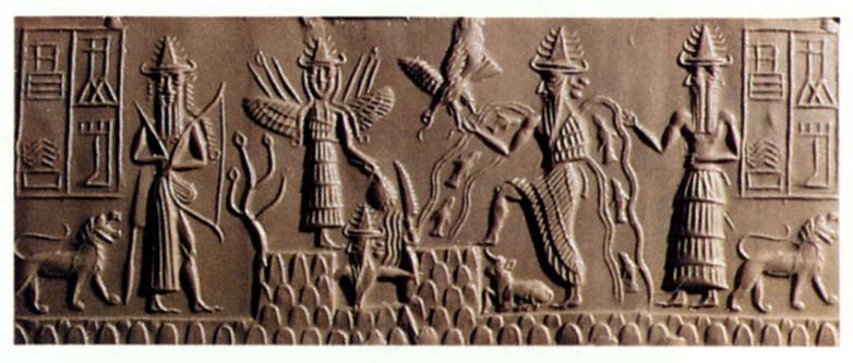 Enlil leads the Anunnaki on Earth Colony, Enlil with alien high-tech bow weapon, Inanna with wings of flight, Utu with his mountain saw, Enki with flowing water, & Isumud with 2-faces, looking forward & backward simultaneously