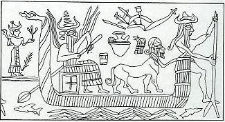 5ja - Ninlil watches from the shore while Enlil & Nusku boat up-river