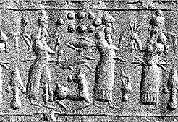 5n - Inanna, Enlil, & Ninurta, Inanna with 8-pointed star of Venus, Enlil with 7-planet symbol for Earth Commander, & Adad with alien lightning bolts weapon, artefacts of the gods are shamefully being destroyed by Radical Islam, fearing the knowledge be discovered by their unknowing followers
