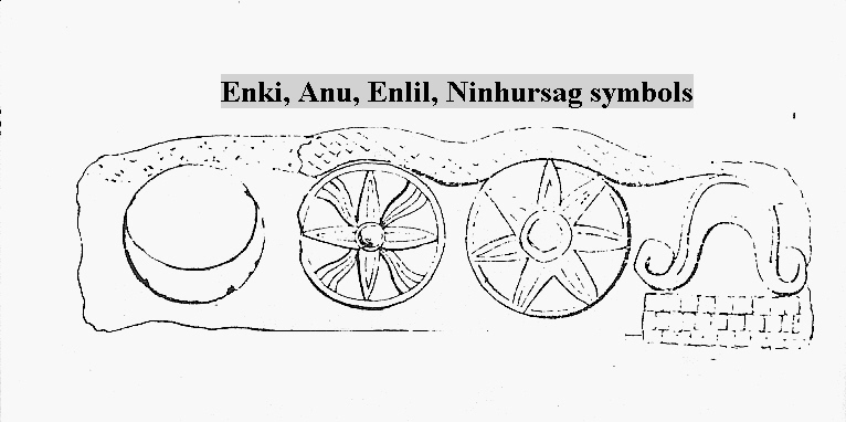 1 - Anu & family's symbols; Enki's moon eclipse, Anu's 8-pointed star, Enlil's 7-pointed star, & Ninhursag's umbilical chord cutter symbols