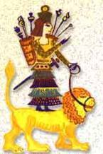 1 - Ishtar & her divine alien weapons,  standing upon her Zodiac sign Leo the Lion