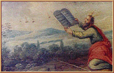10 - unkonwn artist & date, very early A.D. depiction of Moses receiving God's laws, with alien flying saucers departing from the scene, flying discs in the sky were widely seen by earthlings long, long ago & today