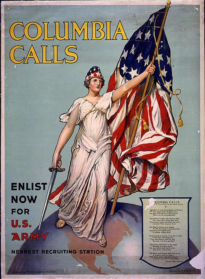 "10a - ""Columbia calls"" for WW I massive enlistment, Inanna / Columbia / Liberty determining civilizations, governments, & religions"
