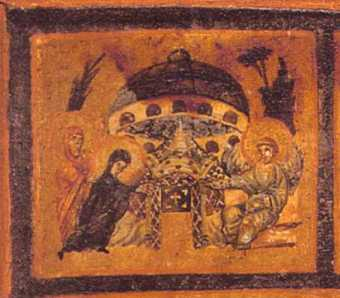 10b - 3rd century painting artefact, flying saucer at the Tomb of Jesus, early Christian interpretation of Jesus, with his related fellow aliens hovering above inside a flying disc, technology not understood by earthlings in the 3rd century, but commonly seen by them