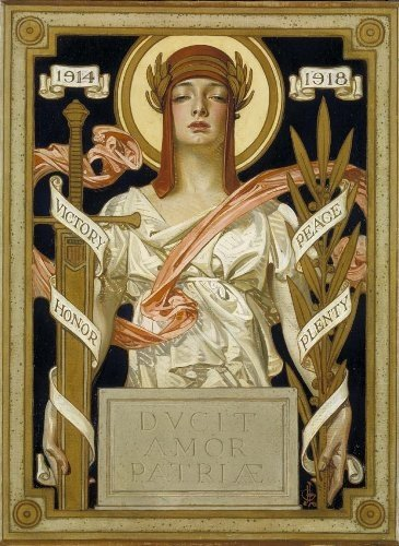 "10f  - goddess Columbia WW I 1914 - 1918, ""Victory, Honor, Peace, Plenty"""
