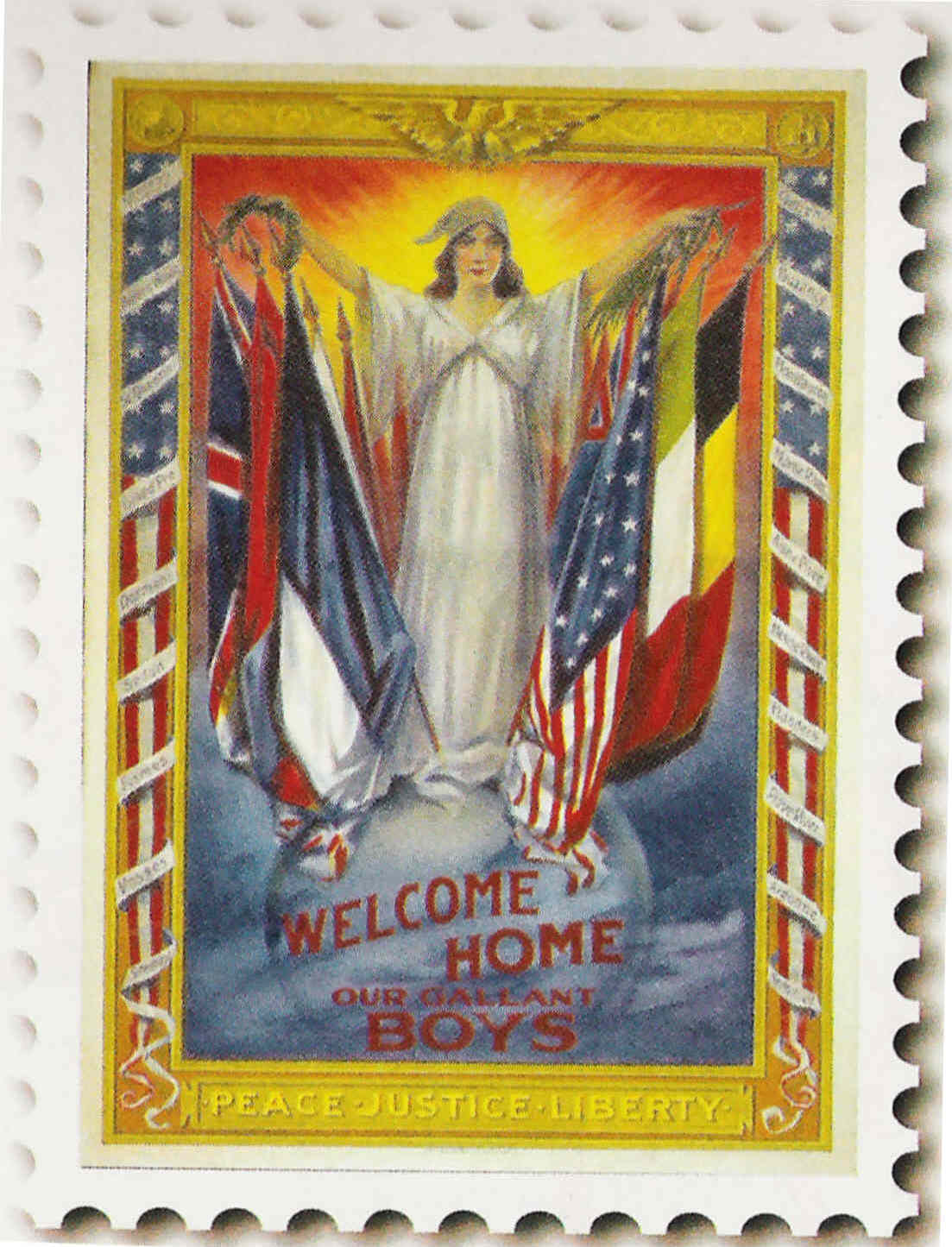 "10g - giant alien goddess Columbia ""Welcome home our gallant boys"", Peace, Justice, Liberty"