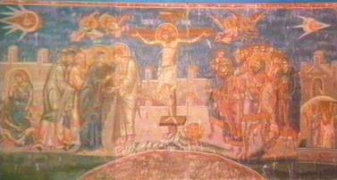 "10j - 1,350 A.D. artefact wall painting in a monestary in Kosovo, Serbia, ""The Crucifixion"", Renaissance Christian interpretation of their descendant Jesus, with his related fellow aliens hovering above in different sky-ships, one pilot looking forward toward Jesus, the other pilot looking back toward Jesus, technologies not of this world known in 1,350 A.D. by master artists"