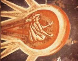 "10ja - 1,350 A.D. painting artefact, blow-up of an alien pilot looking forward toward Jesus, ""The Crucifixion"", Renaissance Christian interpretation of their descendant Jesus, with his related fellow aliens hovering above the brutal & deadly scene, carefully monitoring the event"