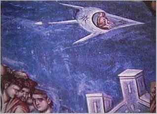"10jb - 1,350 A.D. painting artefact, blow-up of an alien pilot looking back toward Jesus, ""The Crucifixion"", Renaissance Christian interpretation of their descendant Jesus, with his related fellow aliens hovering above the brutal deadly scene, carefully observing the event, secret knowledge of secret societies revealed"