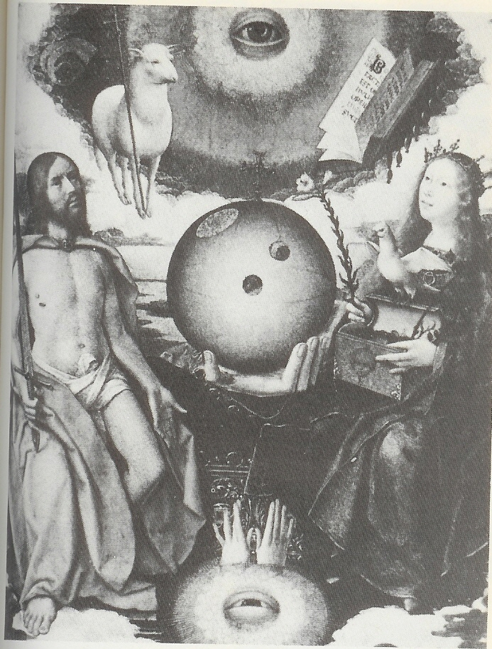 "10n - 1464-1529 painting named ""A Christian Allagory"", the eyes of god above & below Jesus & Mary, very strange technologies - objects depicted, coded messages for those in secret societies"
