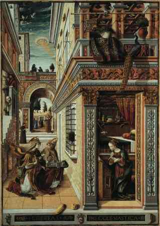 "10o - 1,486 A.D. masterpiece painting of ""The Annunciation"", Carlo Crivelli, Natl.Gallery of London, Christian Renaissance interpretation of Mary, mother of Jesus, becoming informed by alien sky-craft that she would be carrying the baby Jesus, with fellow aliens hovering above, Mary, host-mother to the blessed inter-galactic transplant of the embryo Jesus"