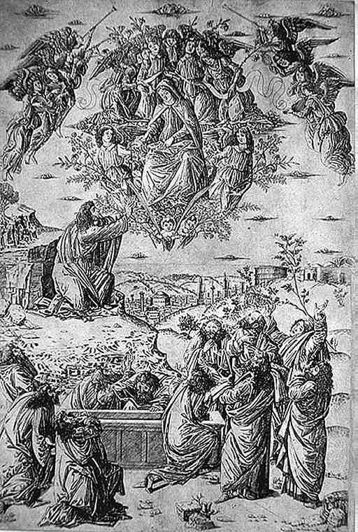 "10p - 1,490 A.D. painting, Anon, ""The Assumption of the Virgin"", Mary is lifted off the Earth in a flying shem, accompanied by aliens - angels from the stars, while multitudes of earthlings look upon the event"