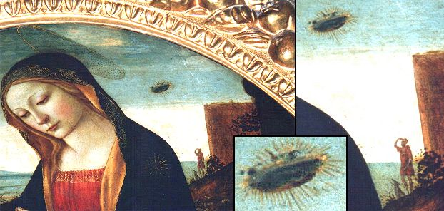 "10qa - blow-up of ""The Madonna"", with incredible detail in the skies, & with related aliens protectively hovering above those below, Christian interpretation of the relationship between Jesus & alien high-tech flying saucers"
