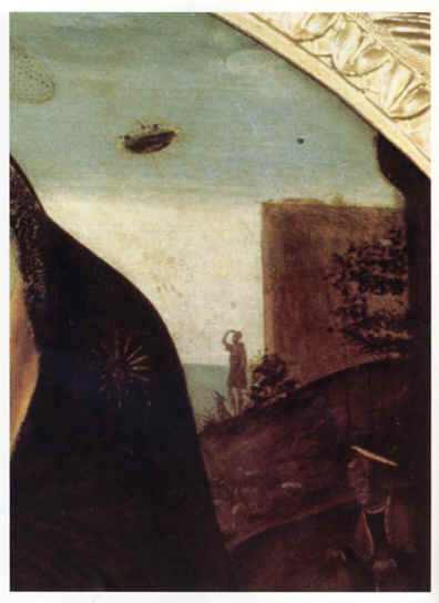 "10qb - blow-up of ""The Madonna"" masterpiece painting, Christian interpretation of the connection of alien beings seen in their sky-crafts, & the ancestor bloodline of Jesus related to the skies"