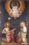 "10s - 15th century painting, ""The Intercession of Christ and the Virgin"", with alien God above in hovering disc, bloodline connection of Jesus to those in the heavens"