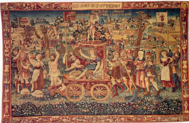"10v - 1,538 A.D. Tapestry, ""Summer's Triumph"" at Bayerisches National Museum, Renaissance celebration scene with flying discs in the background skies, alien discs widely seen by earthlings throughout all times"