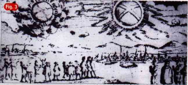11a - 1697 A.D. depiction of the Hamburg, Germany event witnessed by many Germans, 2 discs hovering very low in the skies for all to see, these historical events were important enough to the earthlings that they were compelled to re-create the scenes, preserving the eye-witnessed events for future understanding of advanced technologies