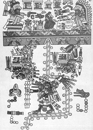 11a - bearded god Quetzalcoatl - Ningishzidda, with others descend from a Rope Ladder to Meso-America, these are the alien bearded gods that established the civilizations there, & why they were confused when Cortez appeared to them on the ocean, coming to shore
