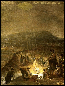 "11c - 1,710 A.D. masterpiece of ""The Baptism of Christ"" by Aert De Gelder, placed in the Fitzwilliam Museum, Renaissance Christian interpretation of an alien connection to Jesus, with his related fellow aliens hovering above, raining down blessings to John the Baptist & Jesus from the sky-craft above"