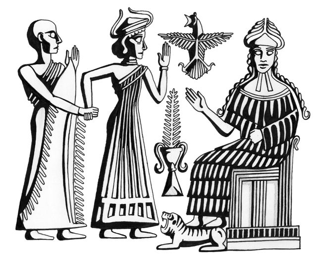 12c - Inanna being presented an unidentified giant mixed-breed king by Ninsun, mother to many mixed-breeds made kings, these blood relatives of the alien gods were appointed, protected, educated, & directed by the gods in their every move, SEE TEXTS ON KINGS OF MESOPOTAMIA ON MOST PAGES OF THE GODS