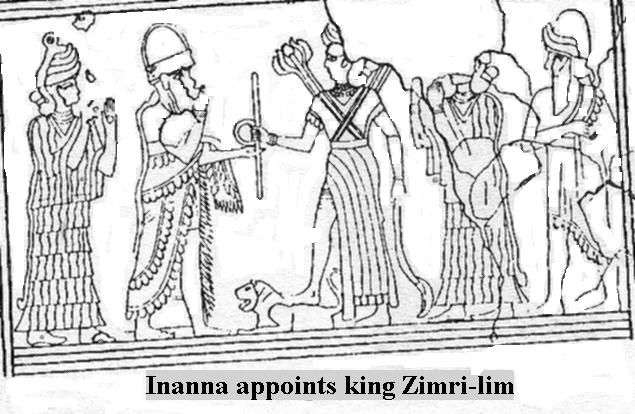 12d - Inanna has her giant mixed-breed spouse-king, Zimri-Lim appointed to kingship