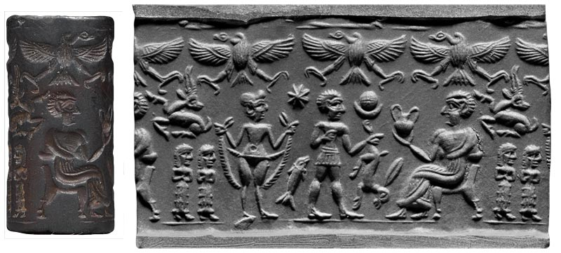 4b - young nude Inanna, the Goddess of Love, her twin Utu & her father Nannar, the patron god of the city of Biblical Abraham & his father Terah, who was the high-priest of Nannar in Ur, SEE GENESIS