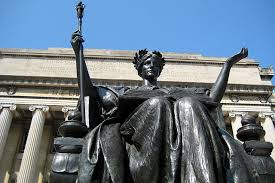 13 - Columbia University with alien giant Inanna / Columbia / Liberty all throughout history, determining all civilizations, governments, & religions