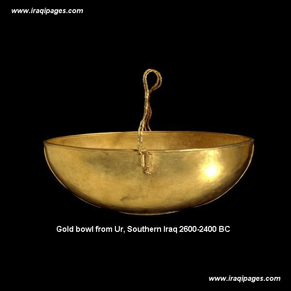 14a - artefact of a gold bowl from Nannar's great metropolis of Ur, the gods acquisition of gold is the main purpose the aliens, called the Anunnaki, from their planet called Nibiru, came down to Earth in the first place, they discovered they must mine it to get the quantity they needed