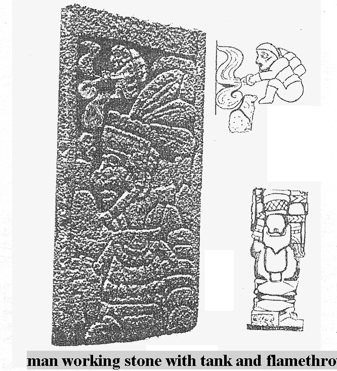 16 - bearded gas rock cutter used in Mesoamerica by the gods, no earthlings that lived there at this time had beards, this is why the Aztecs welcomed the bearded Cortez, & gave him their gold willingly, tricked, deadly thinking that Cortez was an alien god