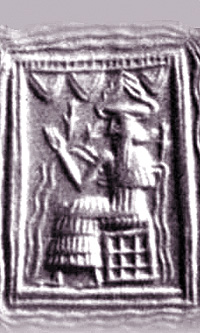 16b - Enki in the Abzu, Enki's life-giving waters symbol, god of the waters, wisest of all the gods on Earth