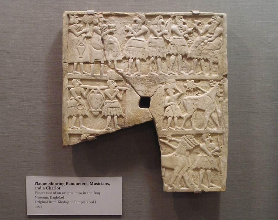 18 - a banquet scene in Nippur, artefacts are being destroyed by Islamic Radicals, trying to eliminate all historical knowledge, prior to, & contradictory to the doctrines of 7th century A.D. Islam