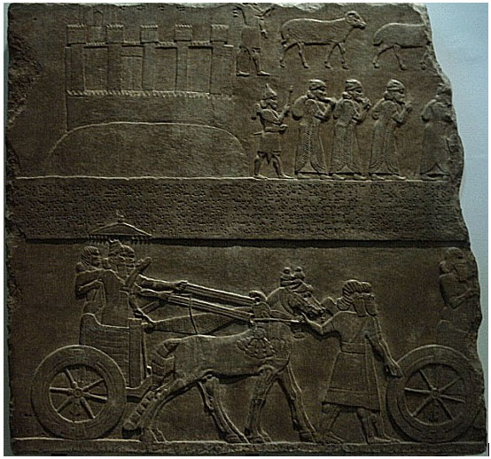 18f - Lachish captives, bounty looted, & king in a victory parade, all was well when god was on the king's side, not so well when the god wasn't, entire cultures & civilizations were burned out by wars, & countless earthlings were killed or enslaved by the alien gods & their mixed-breed offspring made king