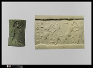 "19 - Akkadian cylinder seal artefact, tale of  giant ""mighty man"" King Gilgamesh against the Bull of Heaven, SEE GILGAMESH TEXTS ON ANU'S PAGE, UNDER URUK KINGS, it was Enlil's command to his eldest son Ninurta, Adad's eldest brother, who killed many of the animal mixed-species beasts, fashioned by Enki in his attempt at establishing many substitute workers for the gods, all of these type experiments failed"