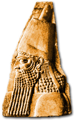 19d - Assyrian artefact of King Sargon II, named after giant mixed-breed made king Sargon the Great who was one of the actual spouse-kings of Inanna, producing the incredible girl child Enheduana, author & praiser of Inanna writing many texts, SEE INANNA'S TEXTS ON HER PAGE