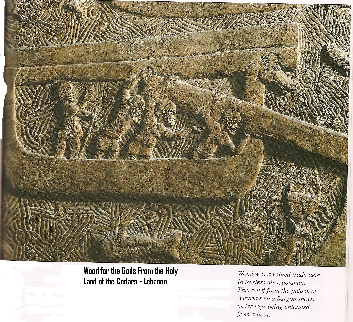 19h - Assyrian artefact of Sargon II, the giant aliens coveted cedar wood, shipped to the temples - houses for repairs, the alien gods loved the cedar aroma, & made oils of it, the cedar wood was taken from the mountains of Lebanon, the place of Enlil's Holy Cedars, the place of Enlil's beast Humbaba, SEE GILGAMESH TEXTS ON ANU'S PAGE UNDER URUK KINGS